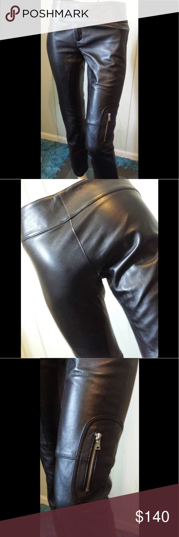 """LAUNDRY by SHELLI SEGAL Black Leather Pants XS Bad-Ass skin tight black leather pants by LAUNDRY by SHELLI SEGAL. Low Waisted w/flared legs, front zip, dbl metal clasp closure. Pocketless in back. Fully lined. Figure flattering, Fierce & Fab. These are really well made.  SZ:N/I (no tag) Fit XS  Waist:29"""" or 30"""" snug Hips:35-36"""" Lgth:Inseam is 28"""" Rise:App 8 1/2"""" Label:Laundry By Shelli Segal sig on both sides of waist interior Style # P6172 Material:Leather (Lined in Nylon)  Condition: EX/No…"""