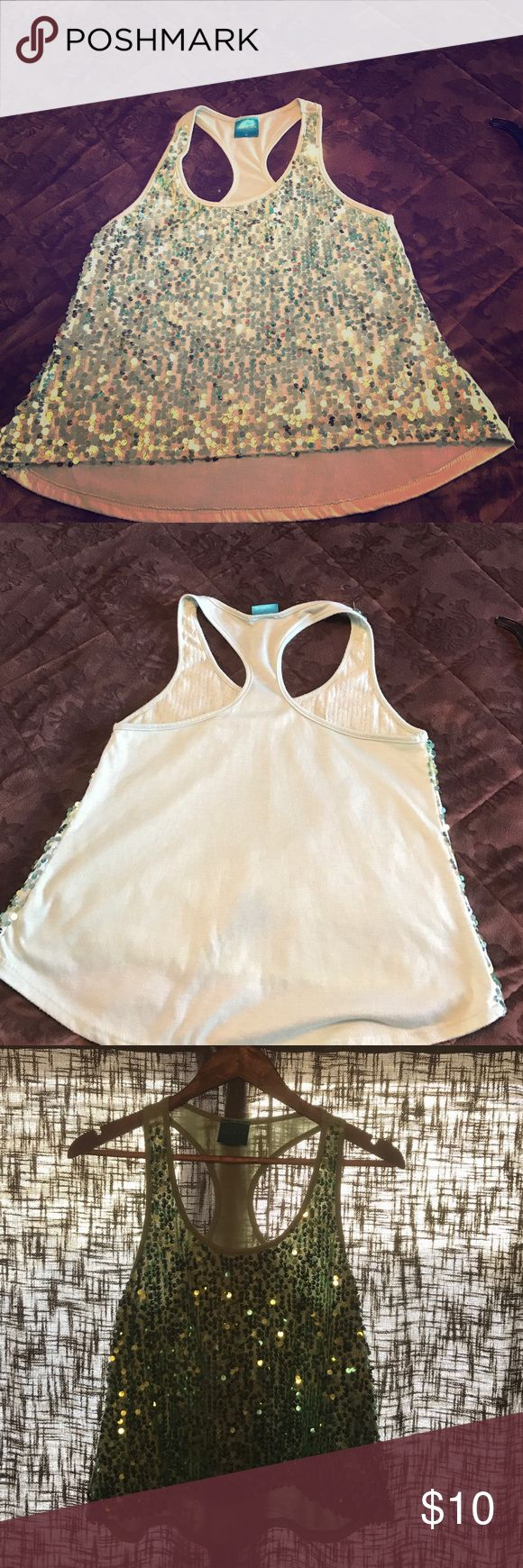 Sequin tanks- size medium- Light green, Sequin Tank! Wear it under a blazer for the office or wear it for a night out with a leather jacket! Gently used. Good condition. color of love Tops Tank Tops