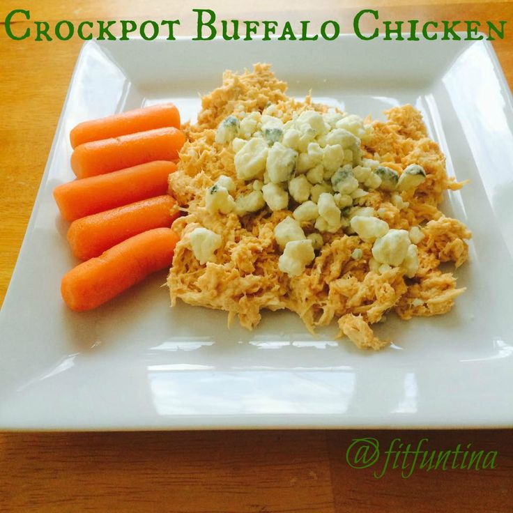 Crockpot Buffalo Chicken - 4 ingredients, clean, and 21 Day Fix approved! For more recipes, head to www.FitFunTina.com