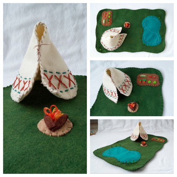 Wool Felt Teepee Playscape Play Mat Native American Camping Lake Garden Fire toy Open-ended Pretend Storytelling Fantasy Woodland Animal