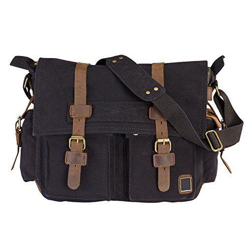 LUXUR Canvas Messenger Bag Specification:  * Material: cotton canvas, crazy horse leather, bronze me