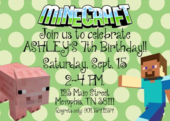 21 best Minecraft party images on Pinterest Balloon party - mine craft invitation template