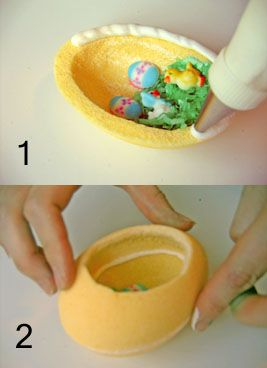 How to Make Panoramic Sugar Easter Eggs: A Step-by-Step Photo Guide: Glue the Egg Halves Together