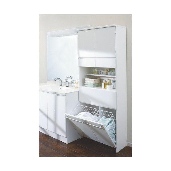 サニタリーチェストと洗濯カゴが1つになった洗面所収納庫●洗面所に必要な2つの収納を1つにまとめた主婦に嬉しいアイデア収納です。●脱衣カゴを外に出しっぱなしにしたくない方におすすめの隠せる収納です。●幅は30cm、42.5cm、59.5cm、72cm、84.5cmの5サイズをご用意しています。ポイント(1)場所をとるランドリーボックスがスッキリします●下部にはサッと放り込める洗濯カゴ付き。洗濯物の分別ができます。●中のかごは取り外し可能。内部も化粧仕上げの清潔な仕様です。●通気性のよいスチール素材なので家族の衣類の洗濯物に便利です。ポイント(2)上部の扉は洗剤のストック、引き出しはタオル収・・・