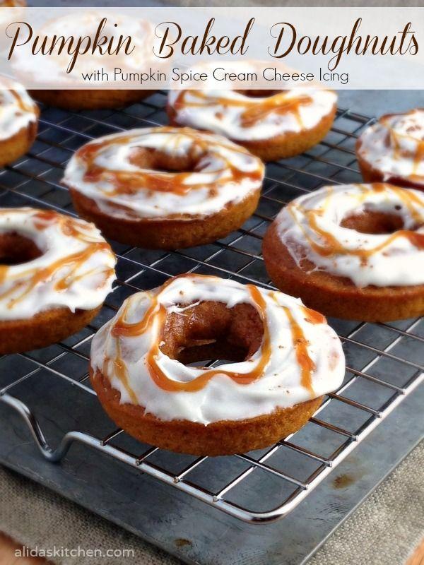 Pumpkin Baked Doughnuts with Pumpkin Spice Cream Cheese Icing ...