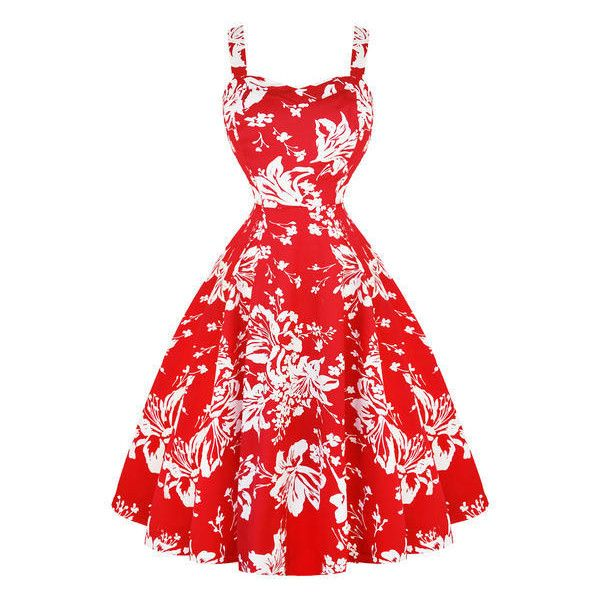 Hearts Roses London Red Floral 1950s Dress Dresses ($52) ❤ liked on Polyvore featuring dresses, floral prom dresses, gothic lolita dress, gothic dresses, floral printed dress and gothic prom dresses