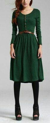 Vestido de lanilla verde