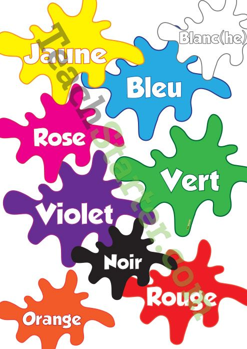 French Colour Blobs   Teach Starter - Teaching Resources