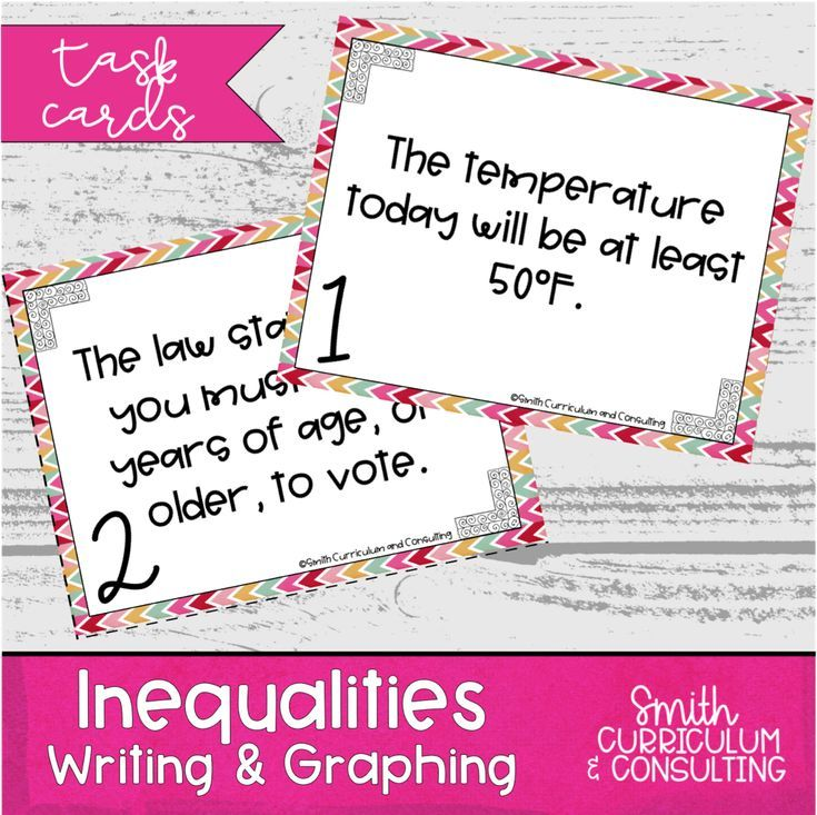 Inequalities task cards writing and graphing one step