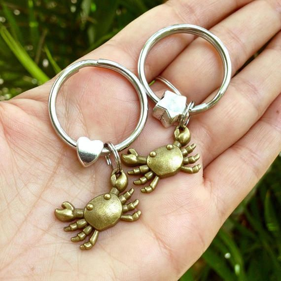 crab key rings set of 2 brass crabs charms zipper charms