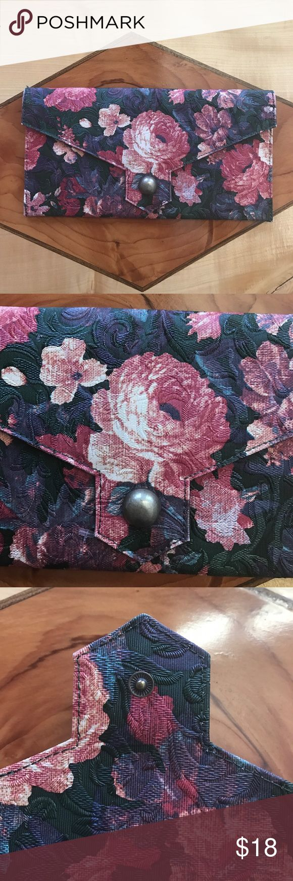 """Urban Outfitters Kimchi Blue Floral Clutch Floral clutch with brass button, magnetic closure. Inside zip pocket. Excellent used condition. 11.5"""" by 6"""" Urban Outfitters Bags Clutches & Wristlets"""