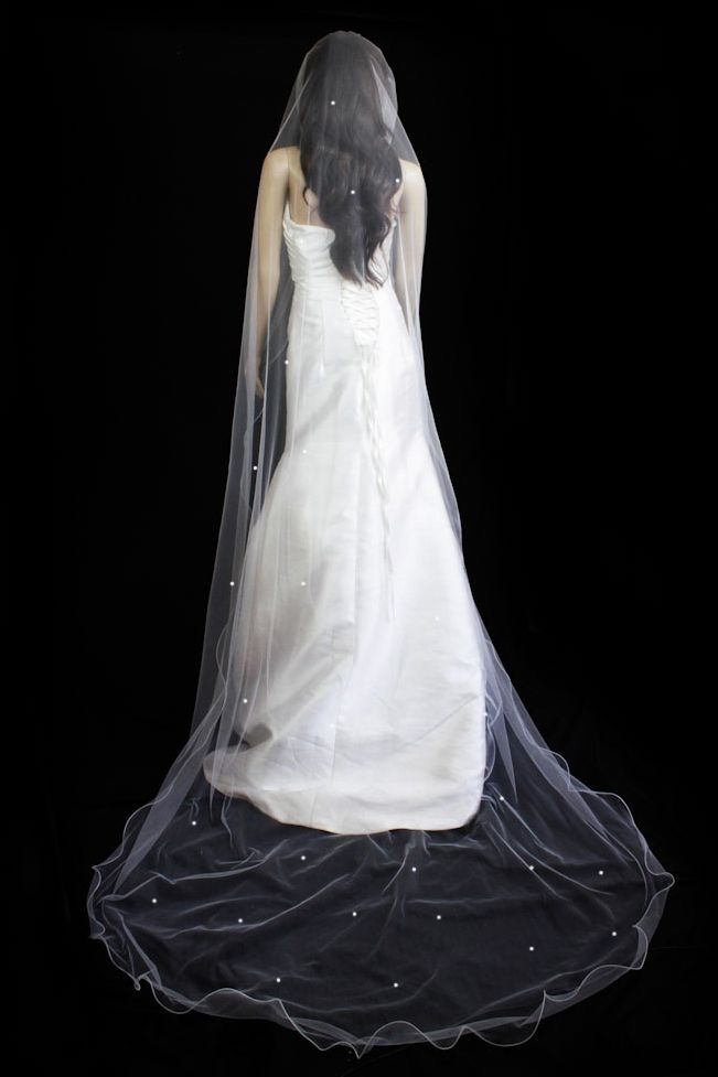Bridal Veil Diamond  White one Tier Cathedral Length With Scattered Rhinestone  $46.01