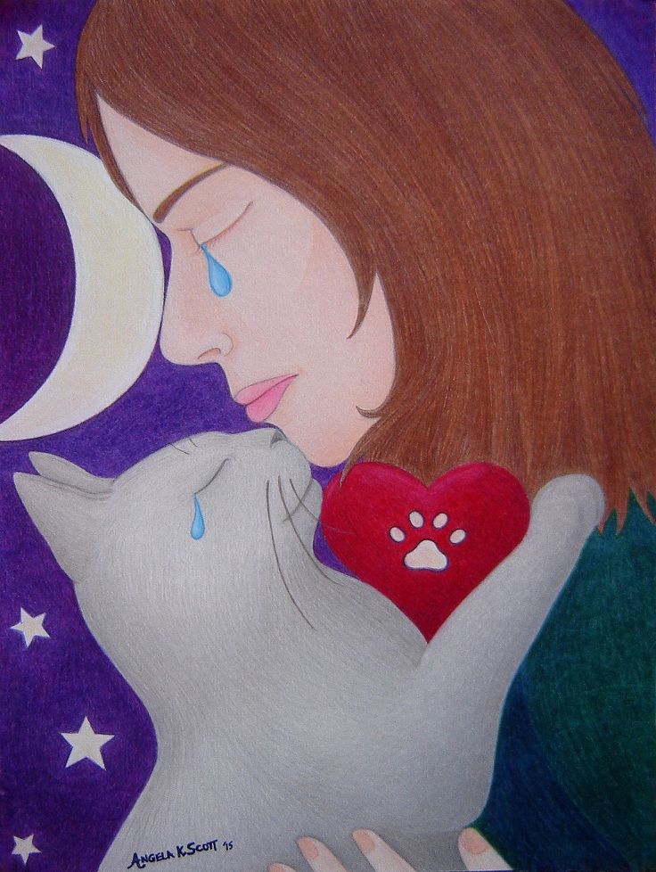 """""""FOREVER IN MY HEART"""" -My artwork made just after losing & grieving the loss of my feline furkid Cindle Lillith ~ R.I.P May'97 - Dec.'15.  Dedicated to all my furkids & to all of those who have lost their beloved pets/pet loss! - - - furkids, cat, feline, girl, woman, tears, crying, paw-print heart, night sky, moon and stars, grief, solace, mourning, comfort, pet loss support, love forever, eternal love."""