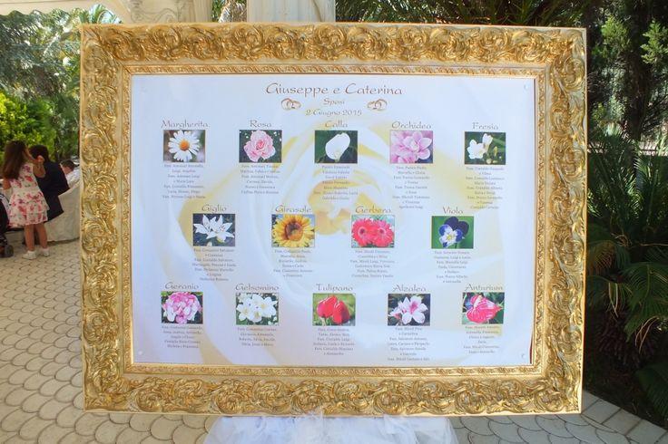 tableau tavoli con 14 nomi di fiori