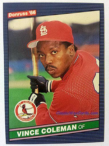 1986 Donruss Vince Coleman baseball card