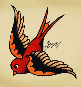 Swallow: (Second Sailor Jerry version). Almost like a vintage jack sparrow tattoo! @Samuel Solomon Hineman