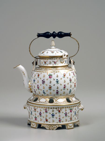 Tea kettle on stand, 1775-90 ~ Clignancourt Porcelain Works, France  -- Porcelain, enamel, brass, wood.