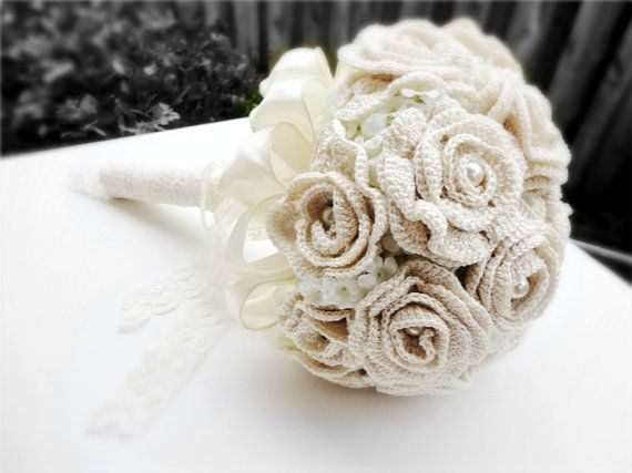 Ivory wedding bouquet bridal bouquet hand crochet with vintage pearls ...