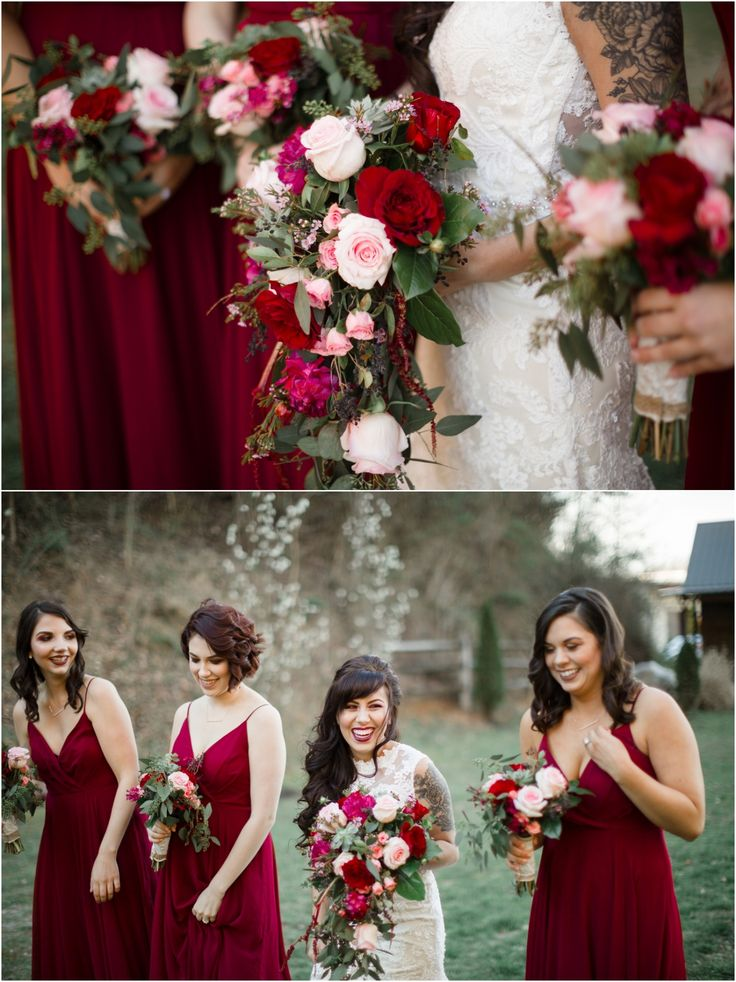Love these rich cranberry bridesmaids dresses and red and pink bouquets!!