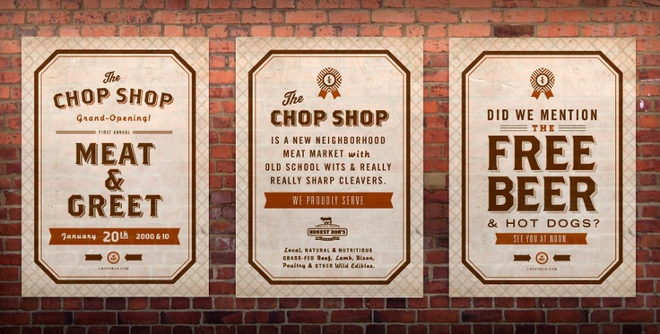 Brothers typeface. Posters for the Chop Shop designed by Ptarmak.