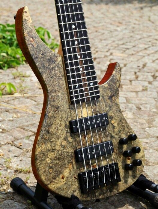 6 string bass - Buckeye Burl - Custom Guitar