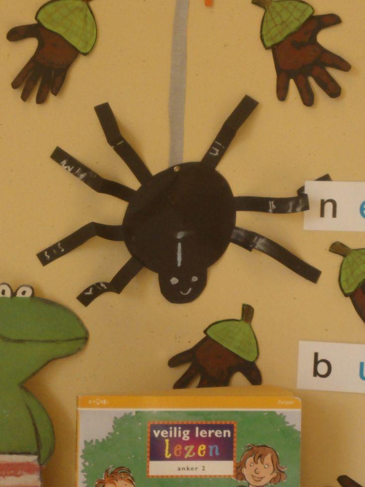 De klinkerpsin. In cooperatieve werkvorm in tweetal de kinderen woorden op de poten van de spin laten schrijven met de klinker die op het lijf staat.