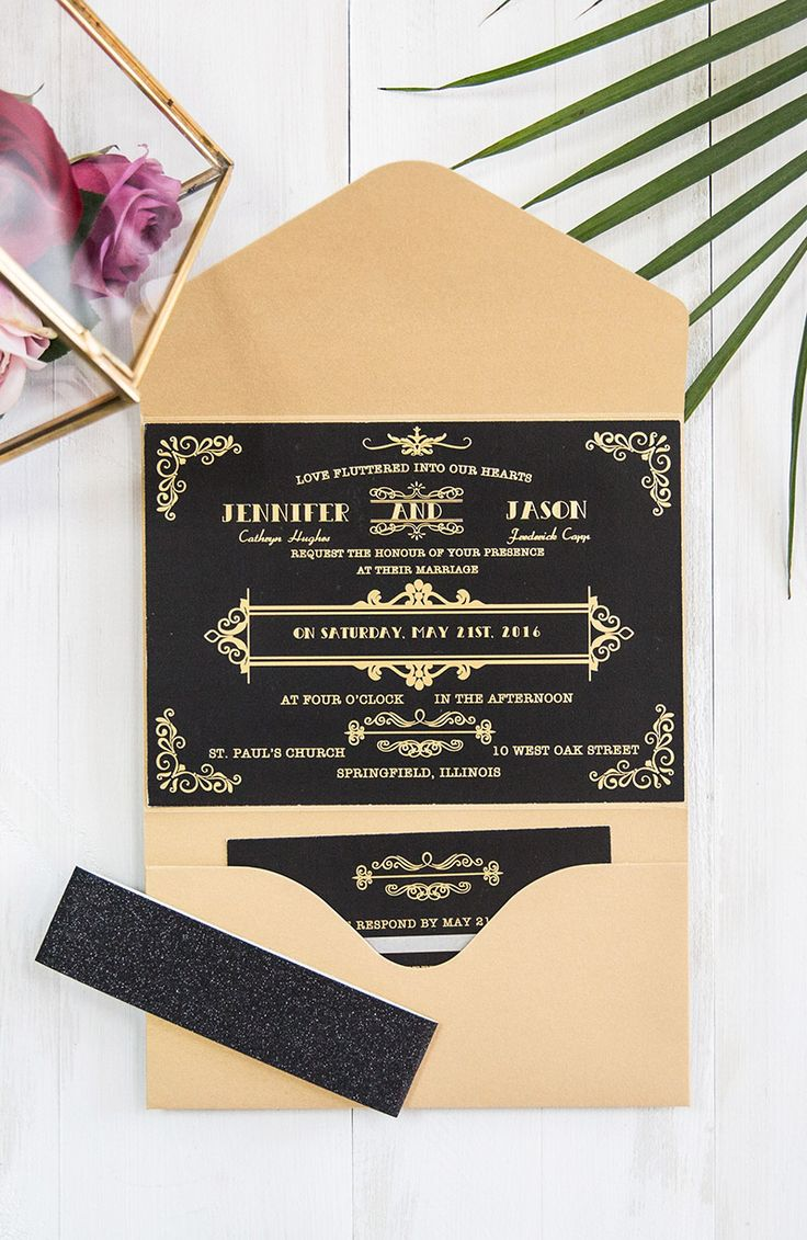 luxury gold and black foil pressed wedding invitations