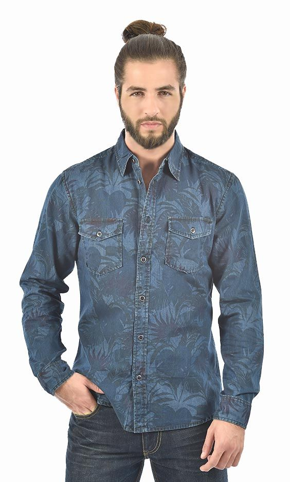 Man Denim Floral Casual Shirt Available in Light & Dark blue.