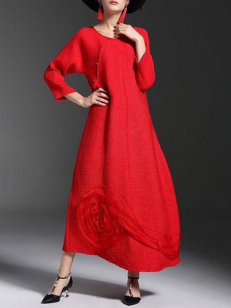 Shop Midi Dresses - Crew Neck Long Sleeve Shift Simple Midi Dress online. Discover unique designers fashion at StyleWe.com.