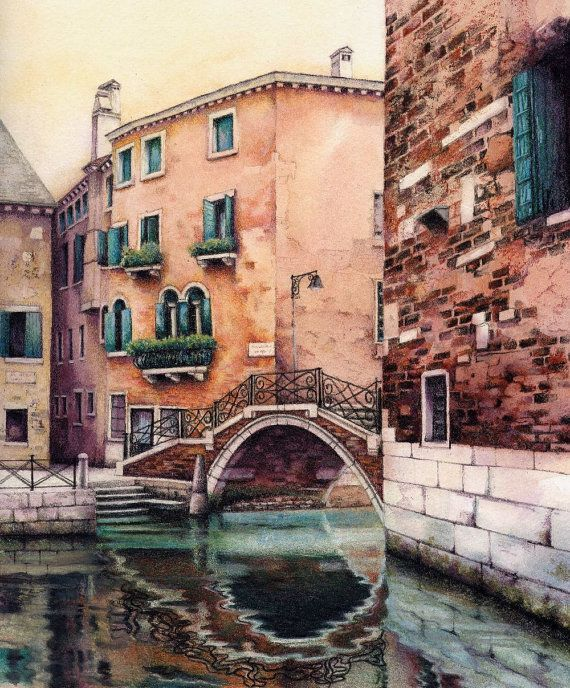 Original watercolour painting of Venice canal. by DaffodilStudio