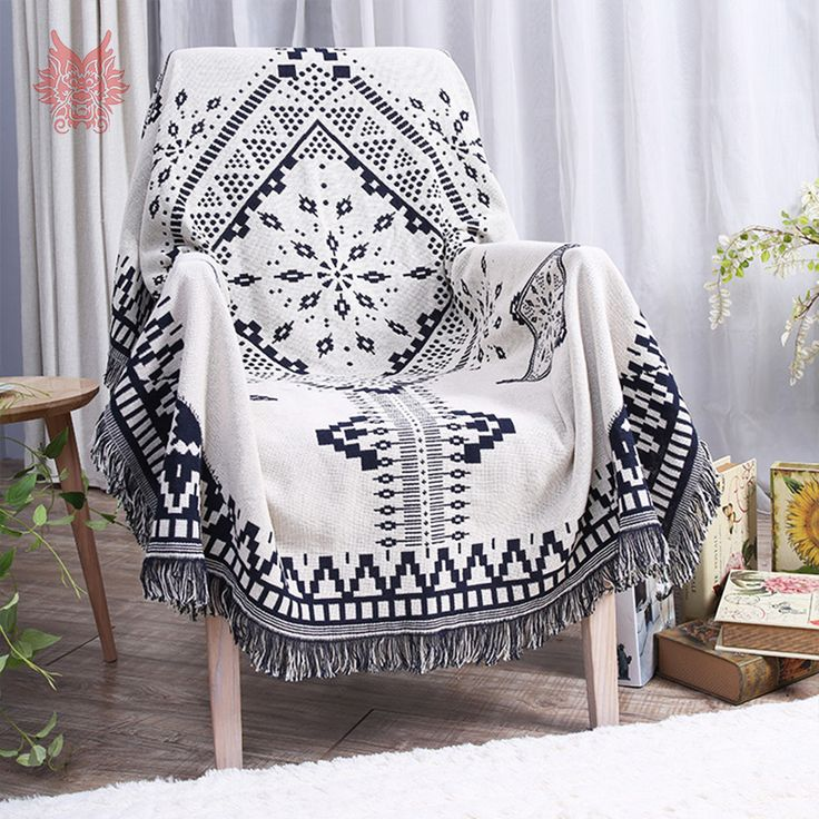 ==> [Free Shipping] Buy Best Black white geometric yarn dyes sofa towel pure cotton sofa chair blanket slip-resistant vintage sofa cover sided usage SP3762 Online with LOWEST Price | 32741302036
