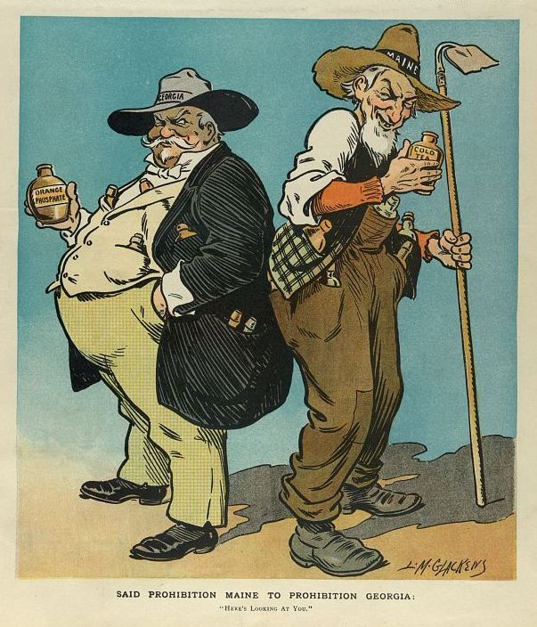 Caricature of the states of Maine and Georgia during American prohibition