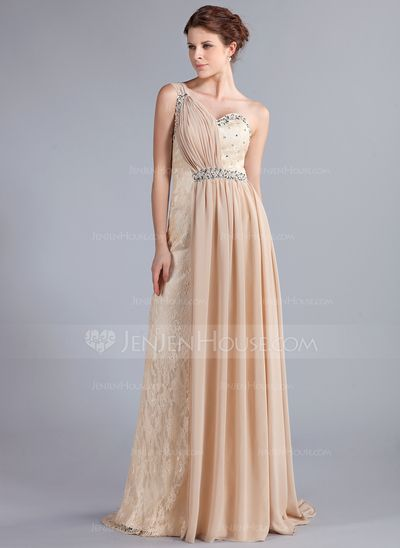 Evening Dresses - $156.99 - A-Line/Princess One-Shoulder Watteau Train Chiffon Lace Evening Dress With Ruffle Beading (017025336) http://jenjenhouse.com/A-Line-Princess-One-Shoulder-Watteau-Train-Chiffon-Lace-Evening-Dress-With-Ruffle-Beading-017025336-g25336