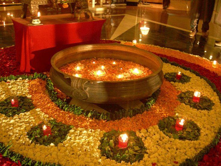 Earthen pot , Diyas and flowers rangoli