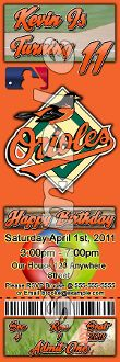 BALTIMORE ORIOLES TICKET STYLE INVITATIONS (WITH ENVELOPES)