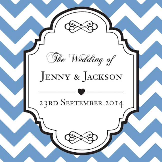 Chevron Personalized Favour Tag - Blue!!  #PersonalizedFavourTag #Weddingfavors