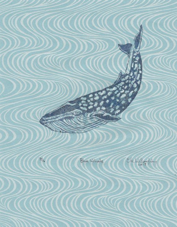 """Blue Whale Linocut on Wave Pattern Japanese Paper - Printmaking Lino Block Print Blue Whale - 8.5"""" x 11"""" by minouette from things from secret minouette places. Find it now at http://ift.tt/1r3GCna!"""