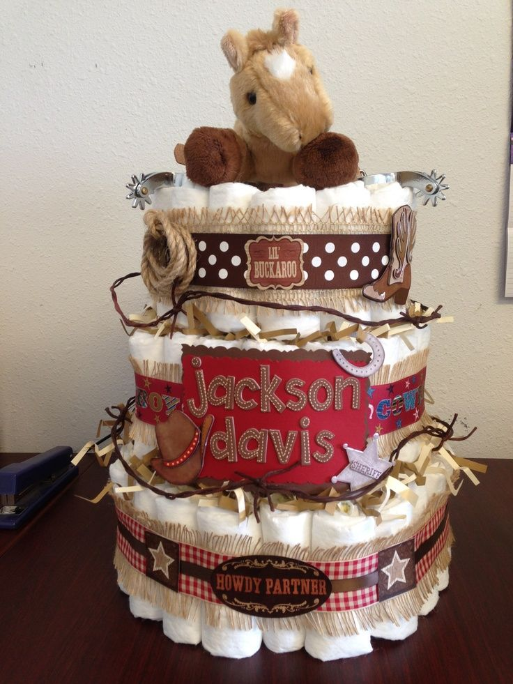 Bandanas and cowboy hats make a cute baby shower diaper cake. Description from pinterest.com. I searched for this on bing.com/images