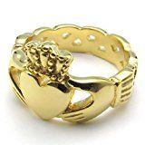 #10: KONOV ジュエリー ファッション アクセサリー メンズ レディース リング 指輪, ハート型 クラウン 王冠 カップル ケルト クラダ Claddagh, ステンレス, カラー:ゴールド(金);[ギフトバッグを提供] - [14号]