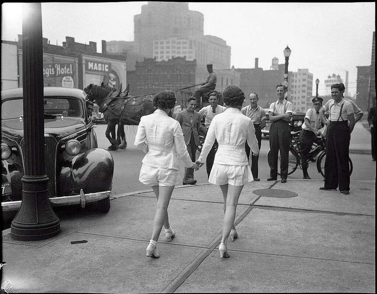 Two women showing uncovered legs in the public place for the first time. Toronto, 1937 (via #spinpicks)