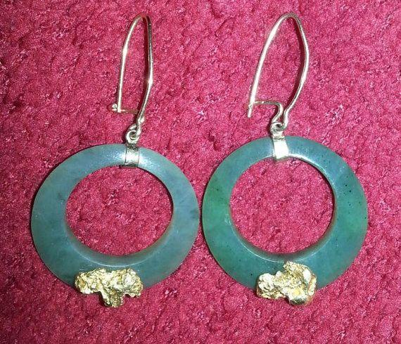 Alaskan Nephrite Jade Hoop Earrings with 18k by ArtsyMysticDesigns, $349.99