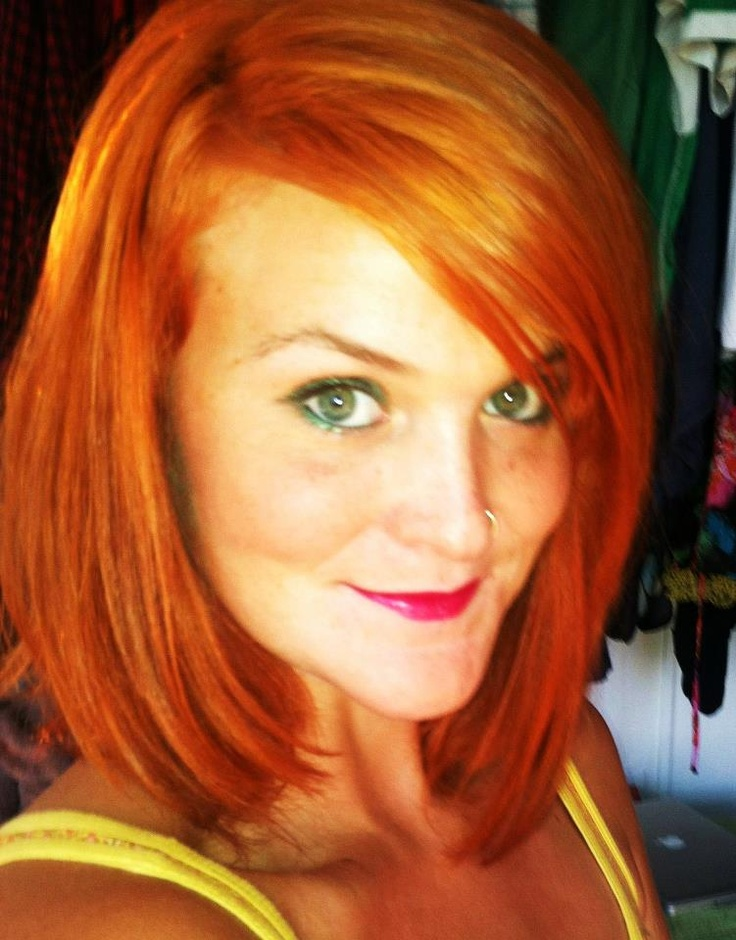 Shoulder Length Copper Red Straight Bob Haircut With A