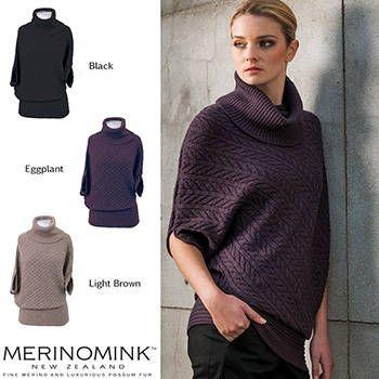 New Zealand Merinomink Womens Merino Wool Cable Bias Sweater