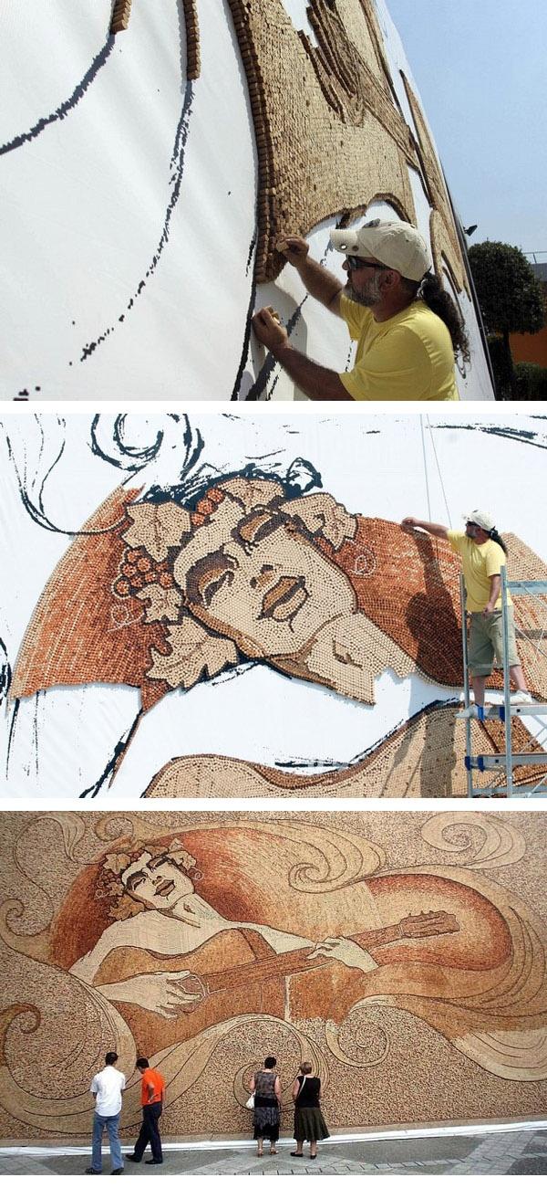 Albanian artist Saimir Strati ( time to recycle wine corks  ; )
