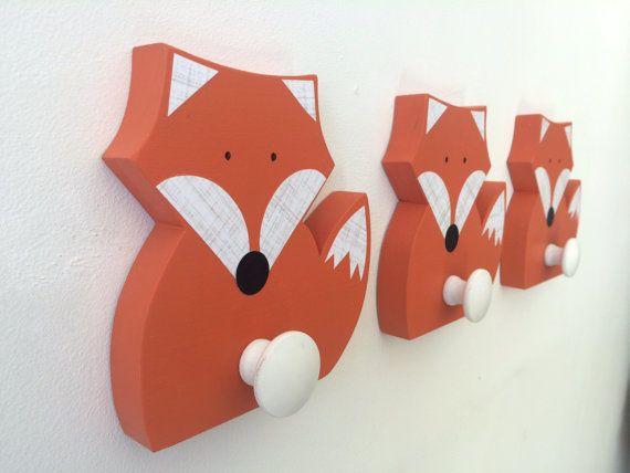 Fox Wall Hook, Woodland Kids Decor,  Woodland Nursery,  Wooden Fox Hanger, Kids Decor, Eco-friendly