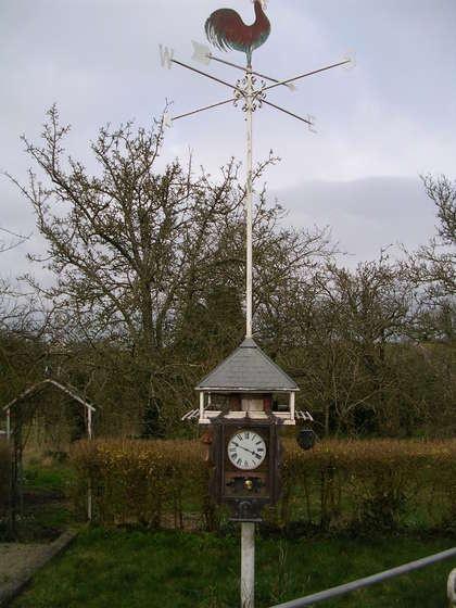 Garden Clock, Bird Table and Weather Vane