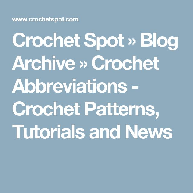 crochet abbreviations and instructions