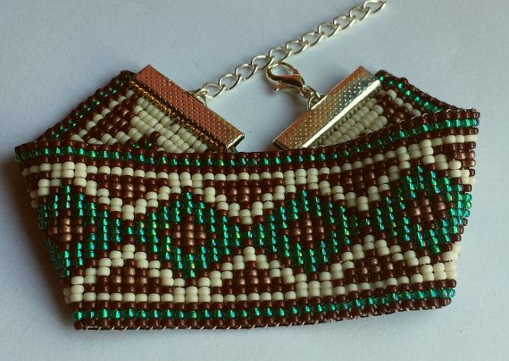 Native style beadwoven bracelet XL by BeadsTimeShop on Etsy