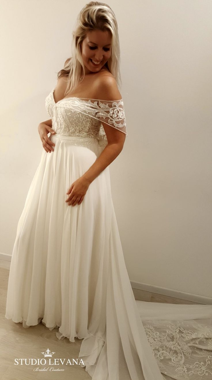 Plus size wedding gown with off shoulder sleeves. Shirley. Studio Levana #Gown #levana #shirley #Shoulder #size #sleeves #studio #Wedding