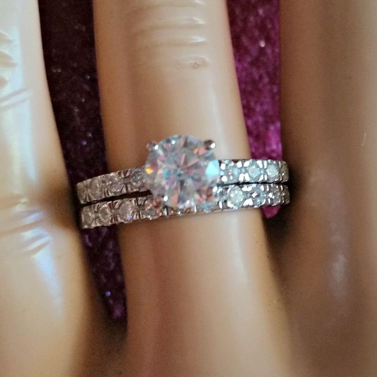Sterling Silver Wedding Set Cz Round Cut Engagement Ring Size 5 10 Bridal New